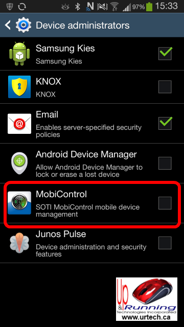 how to disable mobicontrol